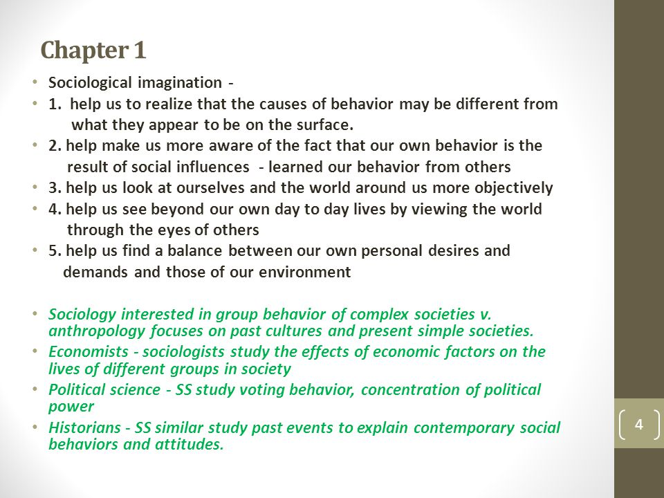 Chapter 1 Sociological imagination -