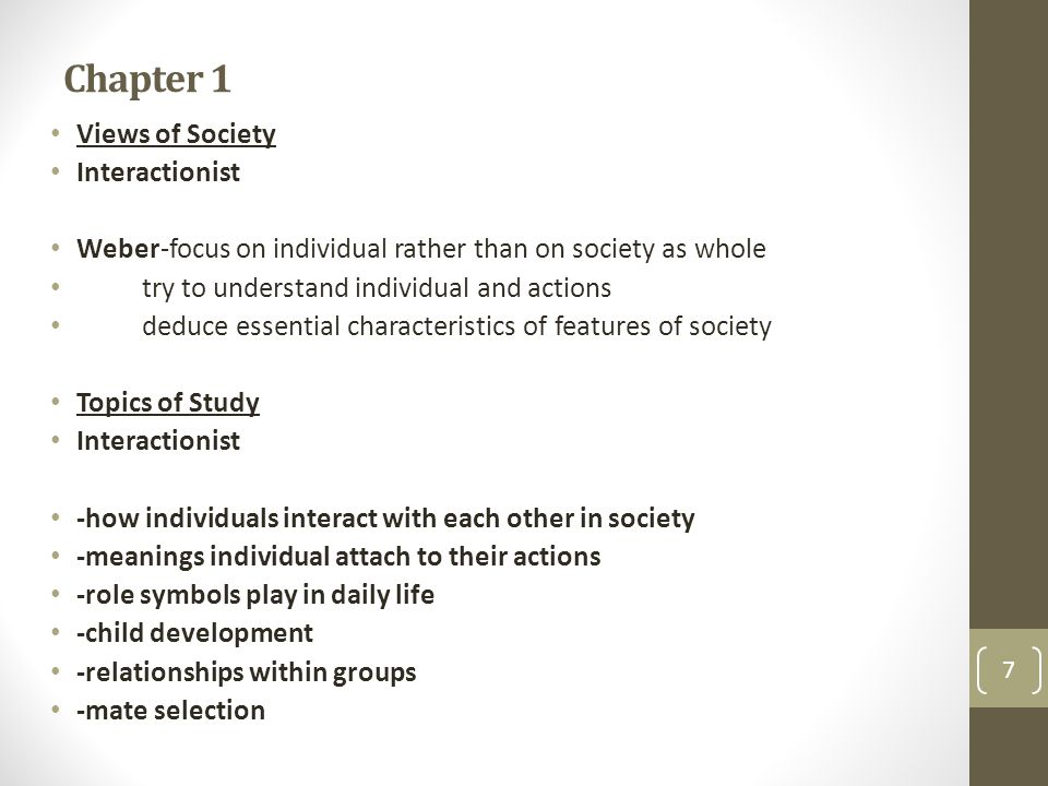 Chapter 1 Views of Society Interactionist