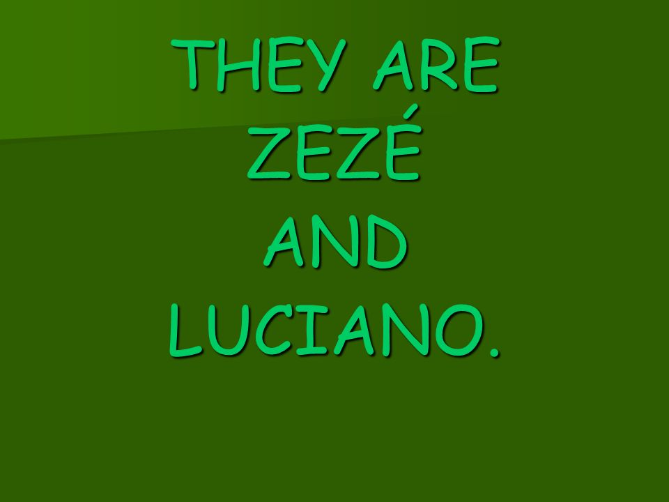 THEY ARE ZEZÉ AND LUCIANO.
