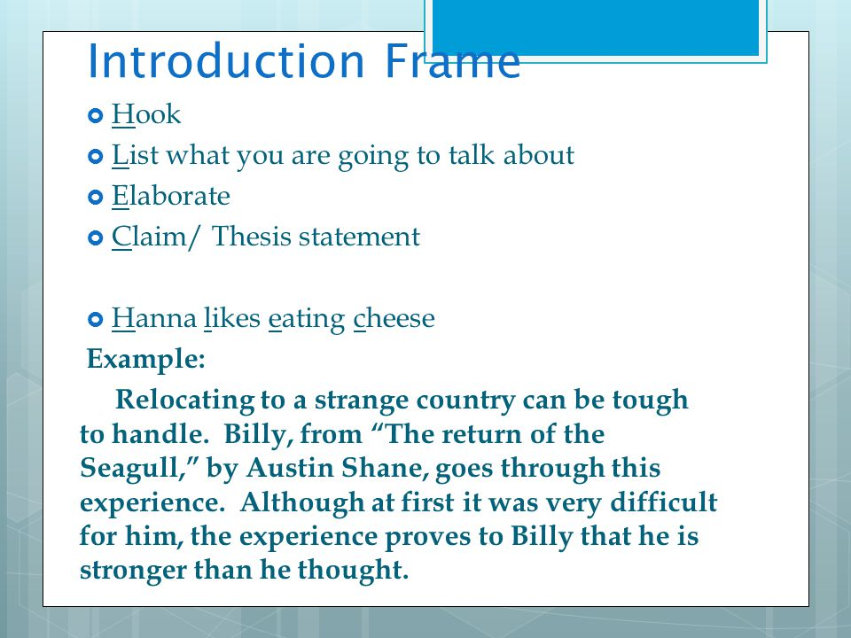 Introduction Frame Hook List what you are going to talk about