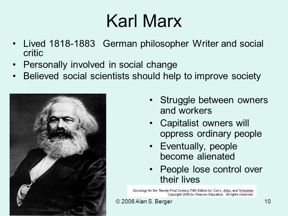 Karl Marx Lived 1818-1883 German philosopher Writer and social critic