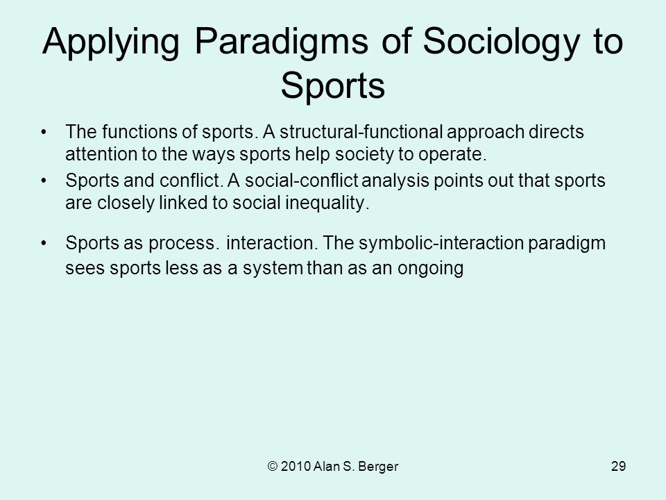 Applying Paradigms of Sociology to Sports