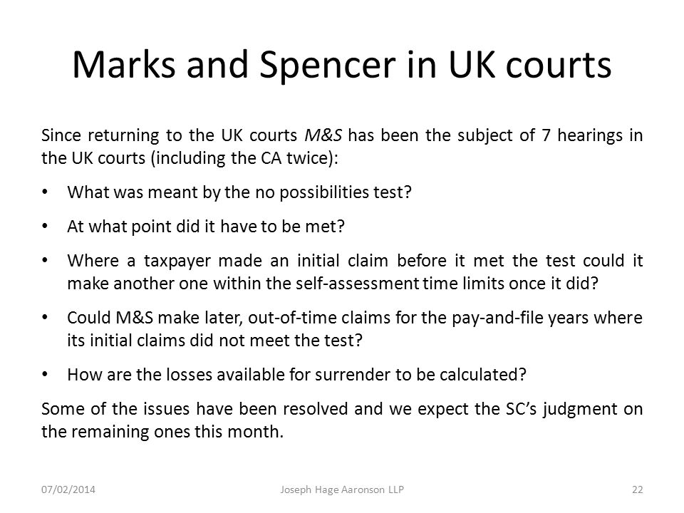 Marks and Spencer in UK courts