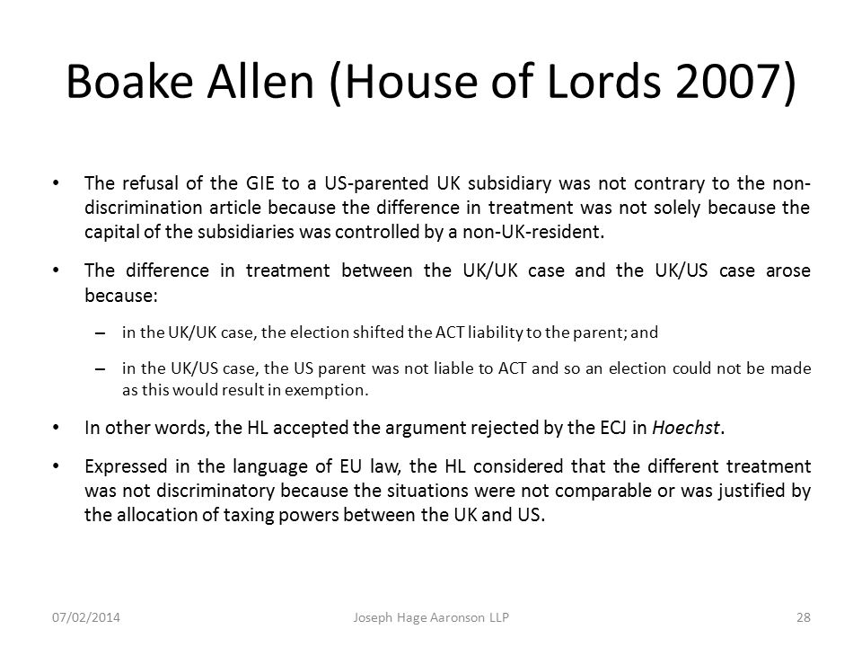 Boake Allen (House of Lords 2007)