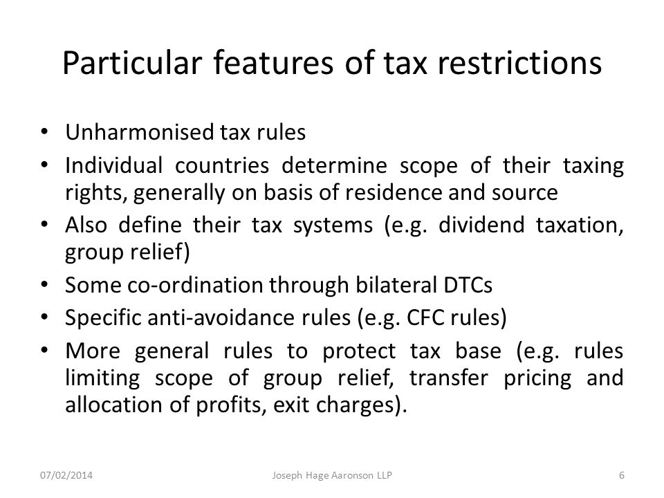 Particular features of tax restrictions