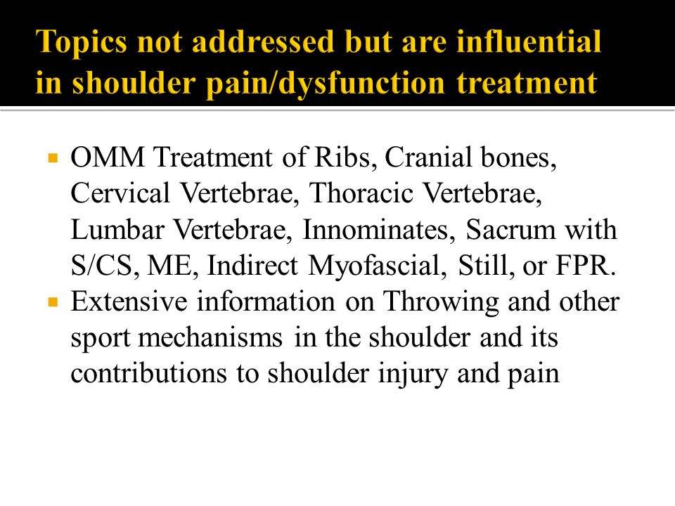 Topics not addressed but are influential in shoulder pain/dysfunction treatment