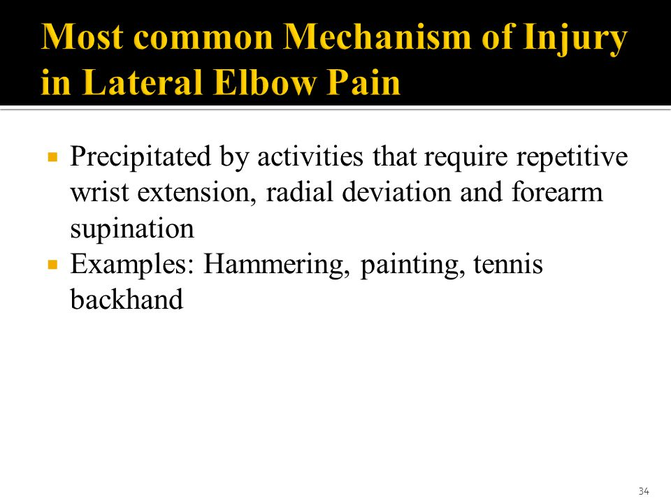 Most common Mechanism of Injury in Lateral Elbow Pain