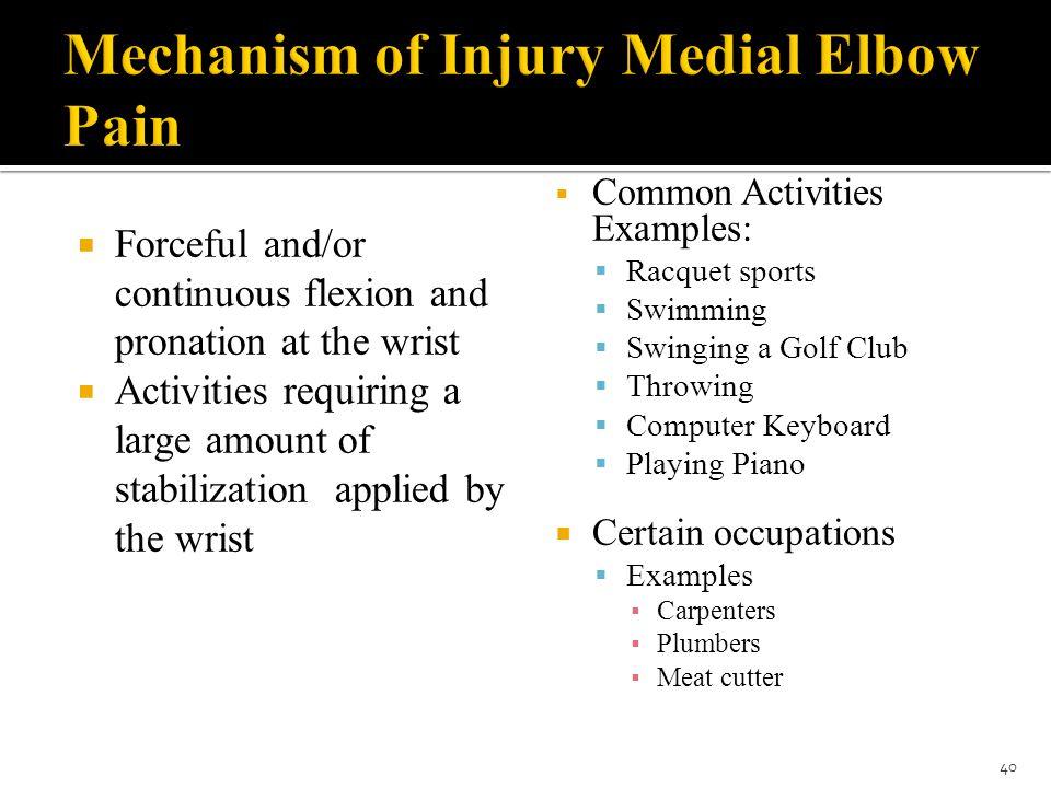 Mechanism of Injury Medial Elbow Pain