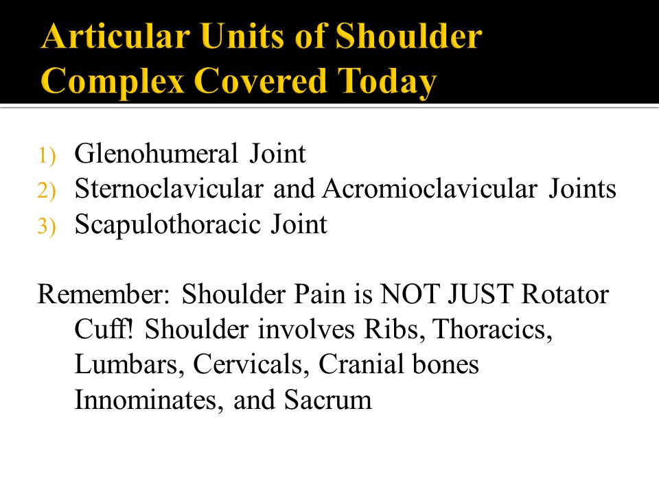 Articular Units of Shoulder Complex Covered Today