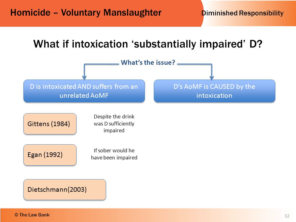 What if intoxication 'substantially impaired' D