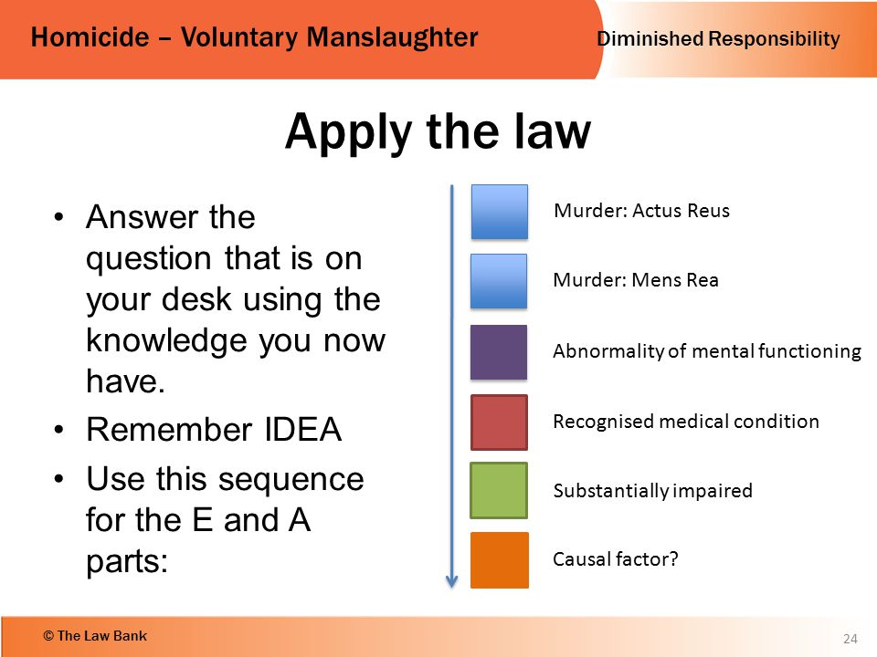 Apply the law Answer the question that is on your desk using the knowledge you now have. Remember IDEA.