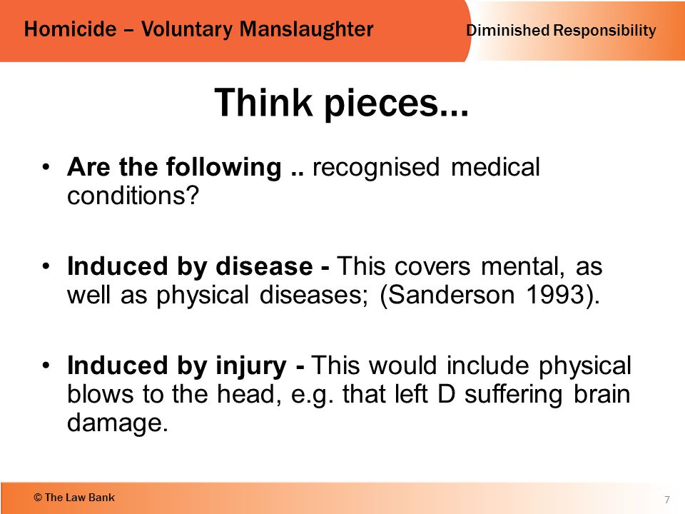 Think pieces… Are the following .. recognised medical conditions