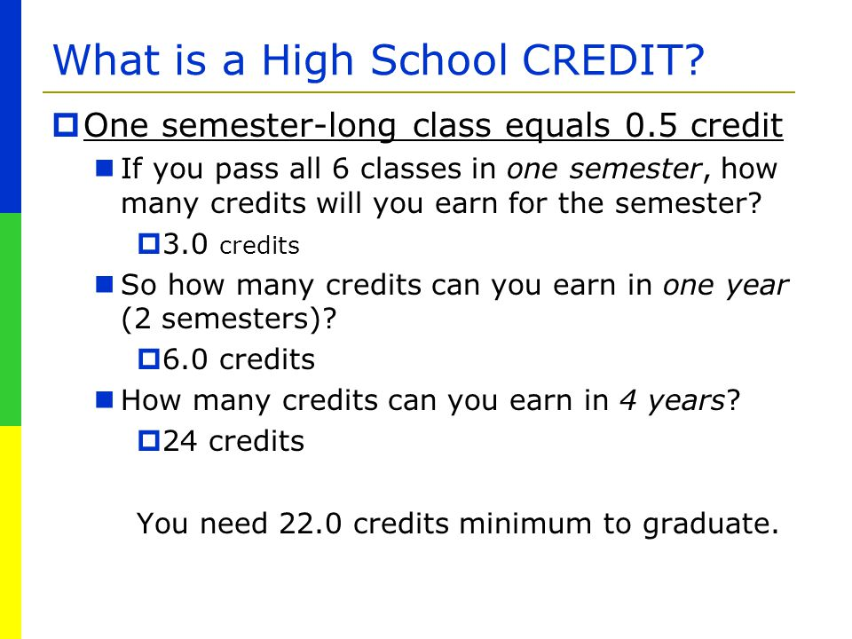 What is a High School CREDIT