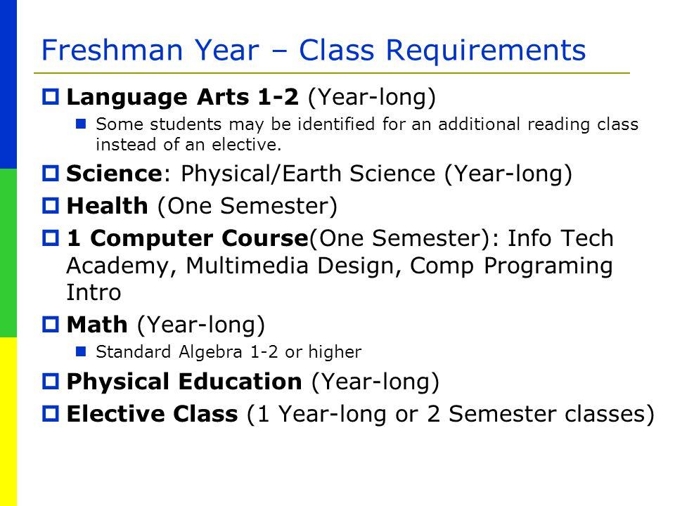 Freshman Year – Class Requirements