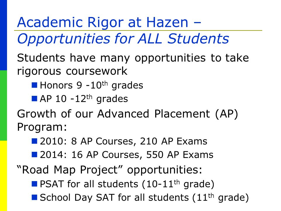 Academic Rigor at Hazen – Opportunities for ALL Students