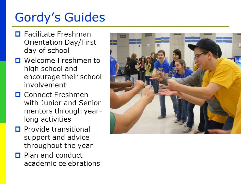 Gordy's Guides Facilitate Freshman Orientation Day/First day of school
