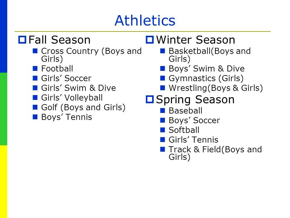Athletics Fall Season Winter Season Spring Season