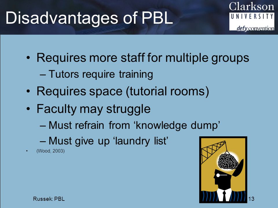 Disadvantages of PBL Requires more staff for multiple groups