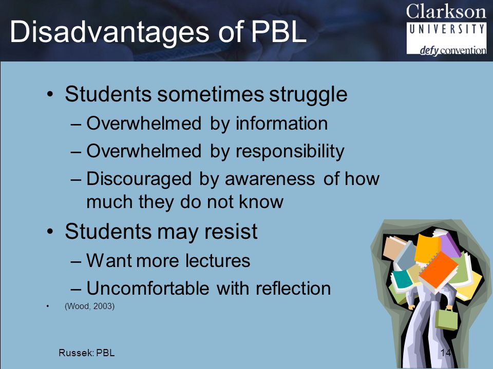 Disadvantages of PBL Students sometimes struggle Students may resist