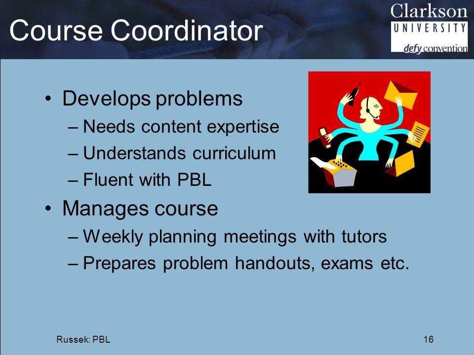 Course Coordinator Develops problems Manages course