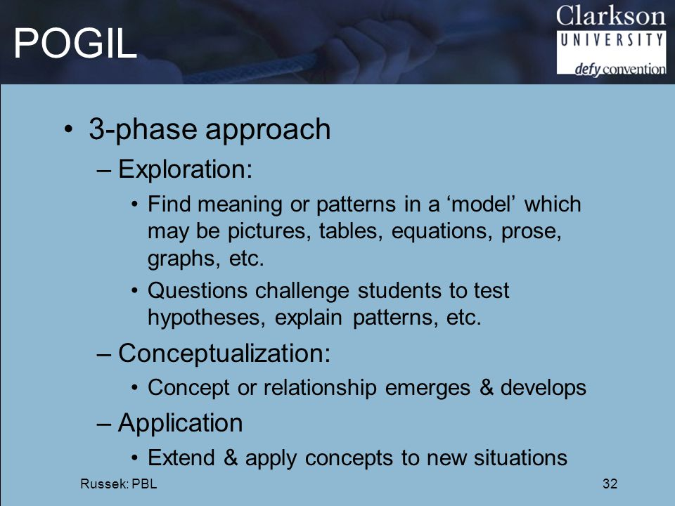 POGIL 3-phase approach Exploration: Conceptualization: Application