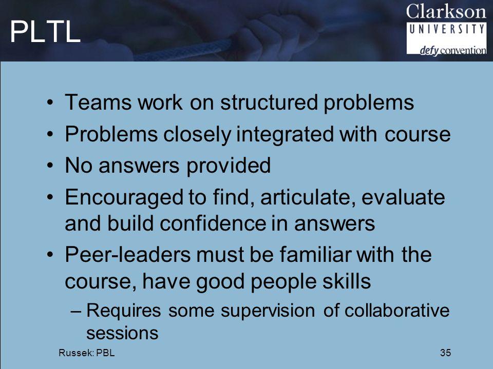 PLTL Teams work on structured problems