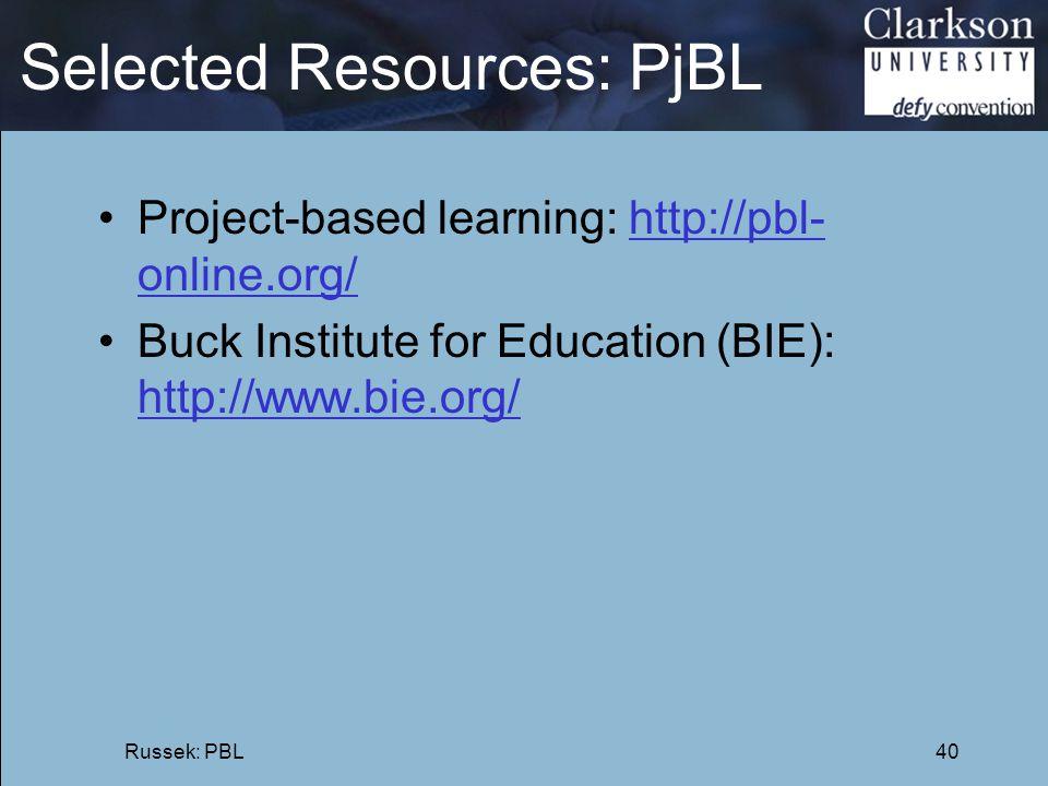 Selected Resources: PjBL