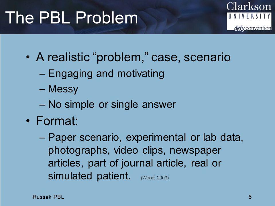 The PBL Problem A realistic problem, case, scenario Format: