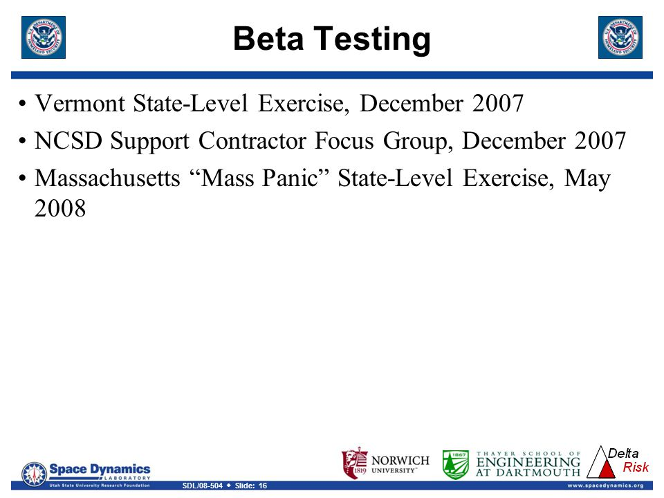 Beta Testing Vermont State-Level Exercise, December 2007