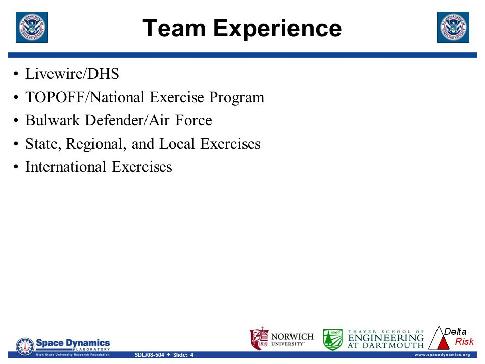 Team Experience Livewire/DHS TOPOFF/National Exercise Program