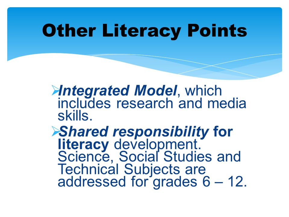 Other Literacy Points Integrated Model, which includes research and media skills.