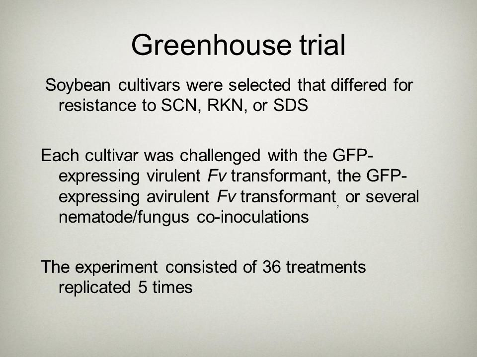 Greenhouse trial Soybean cultivars were selected that differed for resistance to SCN, RKN, or SDS.
