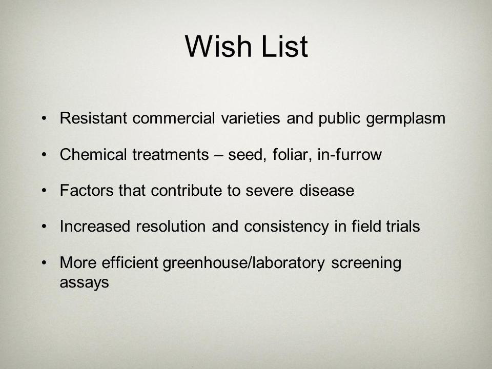 Wish List Resistant commercial varieties and public germplasm