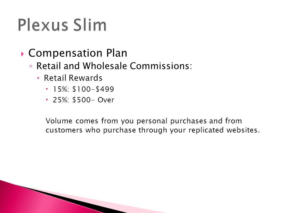 Plexus Slim Compensation Plan Retail and Wholesale Commissions: