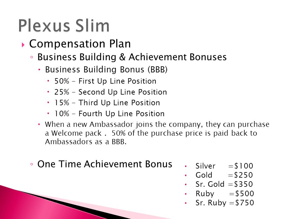 Plexus Slim Compensation Plan Business Building & Achievement Bonuses