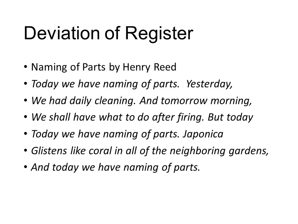 Deviation of Register Naming of Parts by Henry Reed