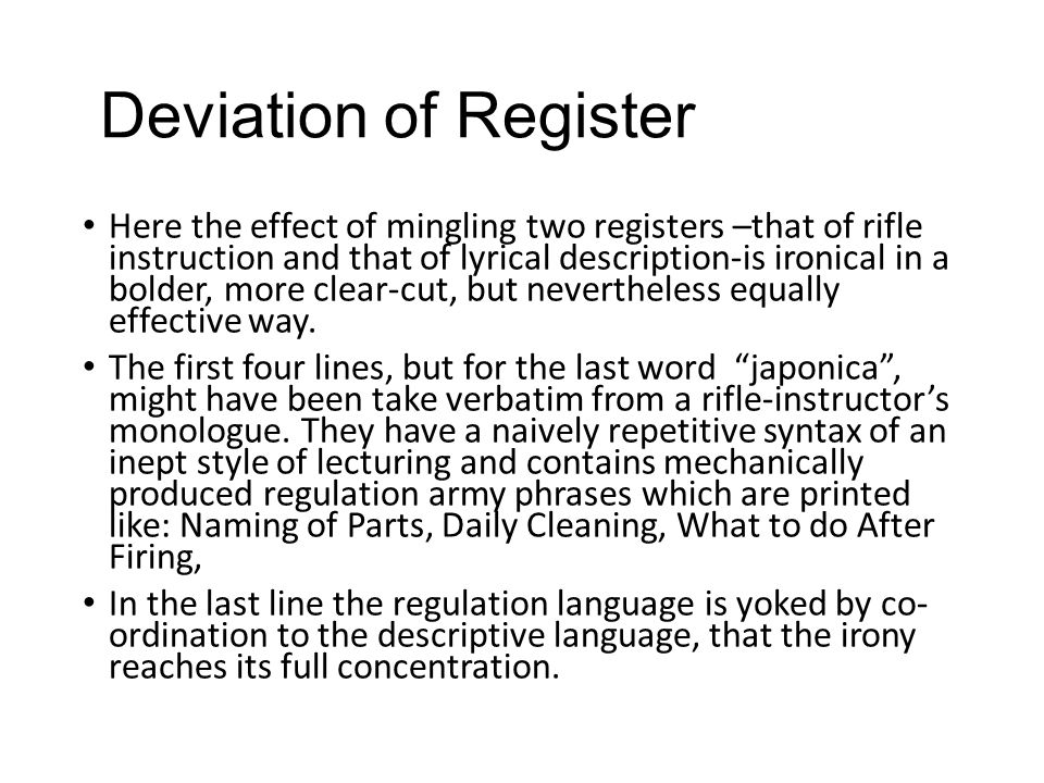 Deviation of Register