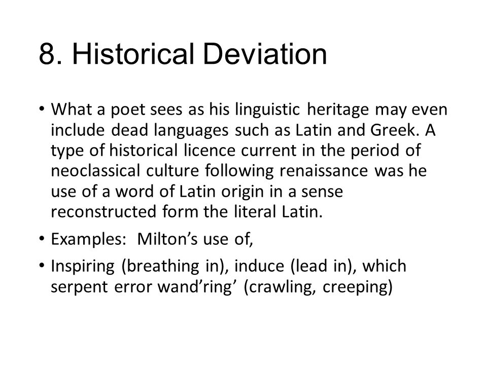 8. Historical Deviation