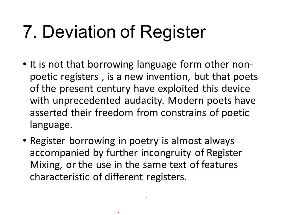7. Deviation of Register