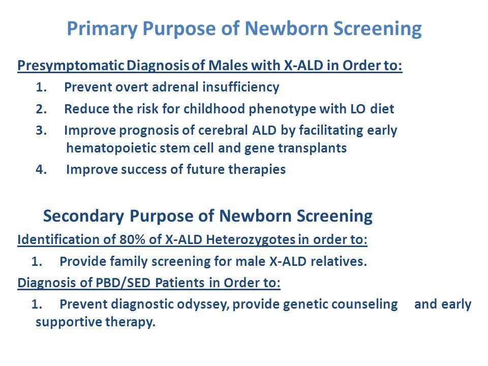 Primary Purpose of Newborn Screening