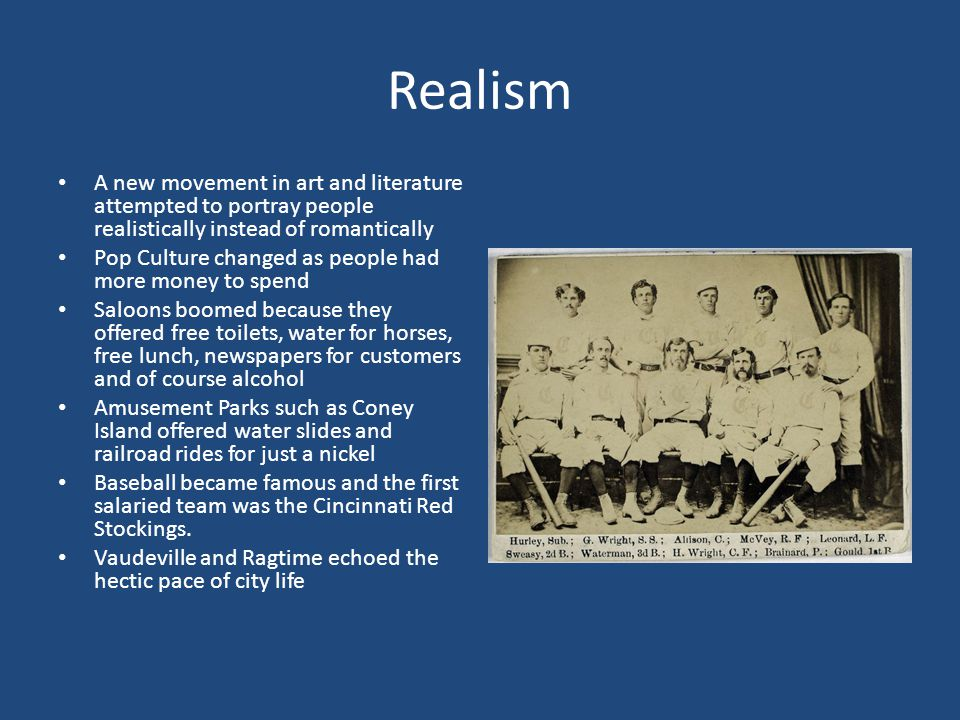 Realism A new movement in art and literature attempted to portray people realistically instead of romantically.