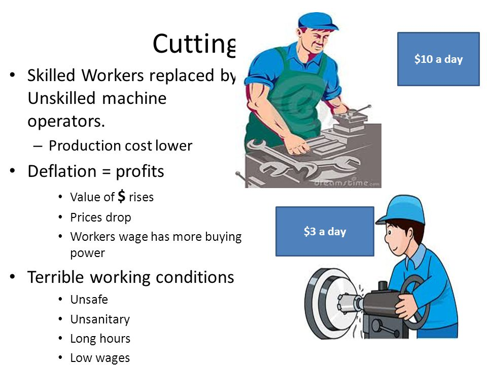 Cutting Costs Skilled Workers replaced by Unskilled machine operators.