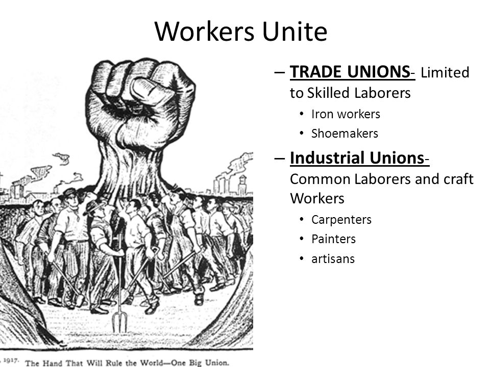 Workers Unite TRADE UNIONS- Limited to Skilled Laborers