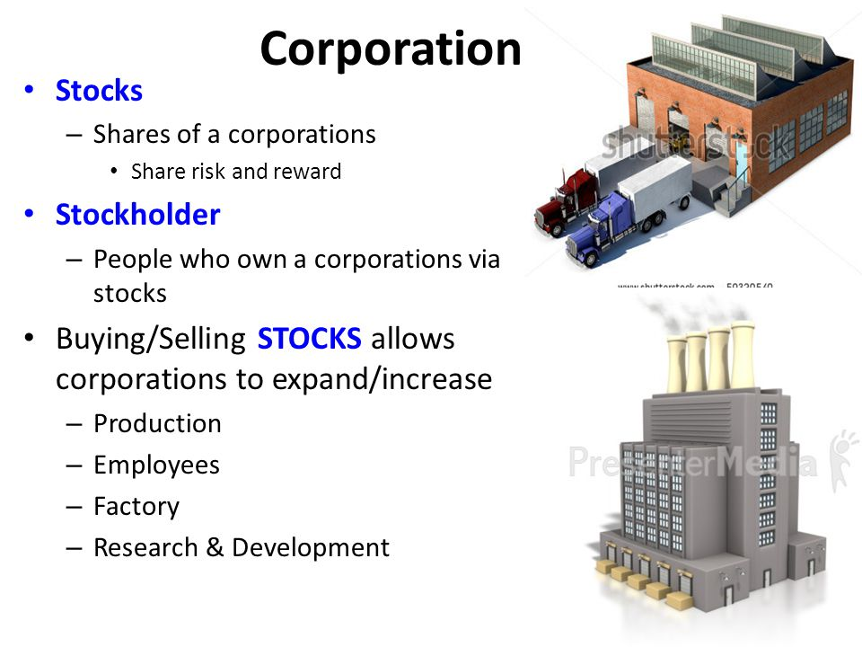 Corporations Stocks Stockholder