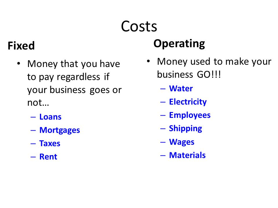 Costs Operating Fixed Money used to make your business GO!!!