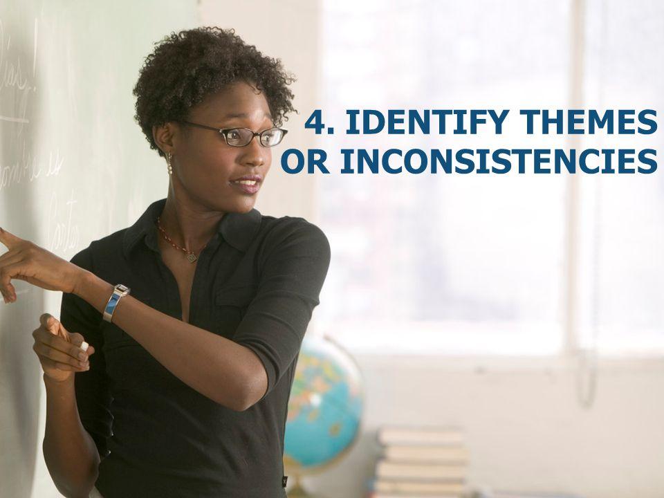 4. Identify themes or inconsistencies