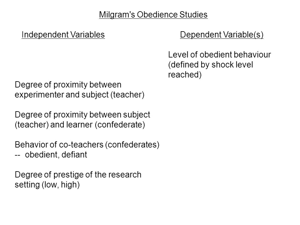 Milgram s Obedience Studies