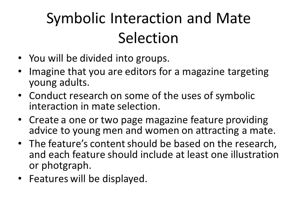 Symbolic Interaction and Mate Selection