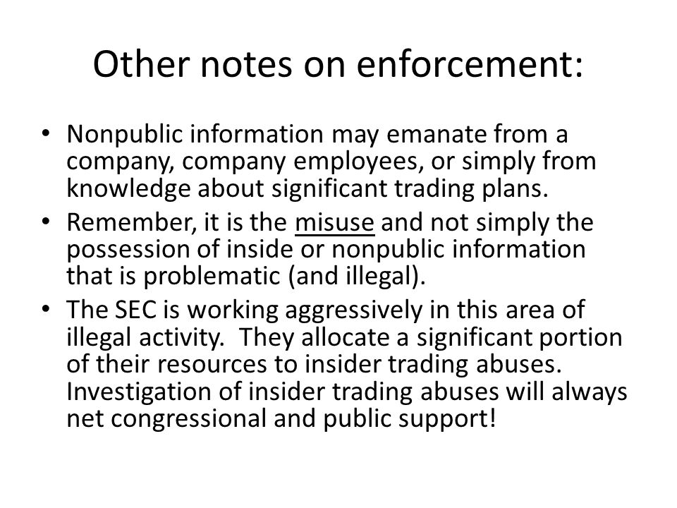 Other notes on enforcement: