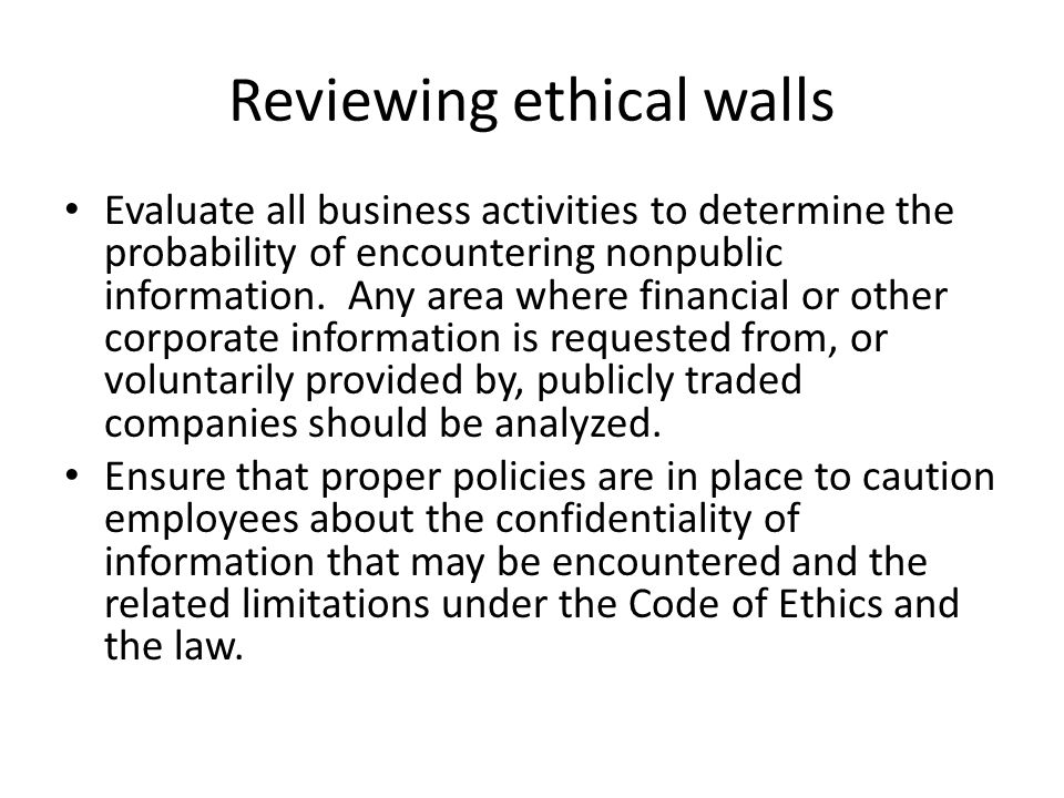 Reviewing ethical walls